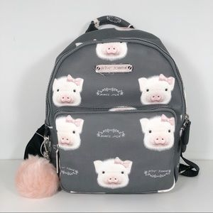 Betsey Johnson Pig Bow Gray Pink Backpack New